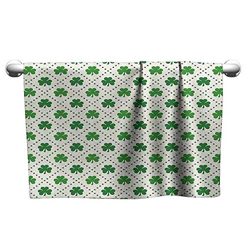 Mannwarehouse Irish Beach Towel Four Leaf Shamrock Clover Flowers with Dotted Dashed Lines National Culture Symbol W10 x L10 Green White
