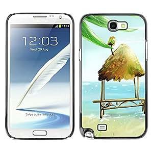 Caucho caso de Shell duro de la cubierta de accesorios de protección BY RAYDREAMMM - Samsung Galaxy Note 2 N7100 - Beach Hut Bench Chair Art Blue Sea Summer