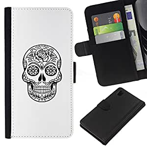 KLONGSHOP // Tirón de la caja Cartera de cuero con ranuras para tarjetas - Muerte Cráneo Negro tinta blanca de metal - Sony Xperia Z1 L39 //
