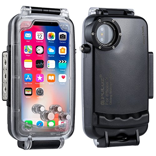PULUZ for iphone X 40m/130ft Waterproof Diving Case Support Shockproof Snowproof Dirtproof IP68 Waterproof Cover Case Heavy Duty Full Sealed Protective Underwater Housing (Black for iphone X) 10 Underwater Housing