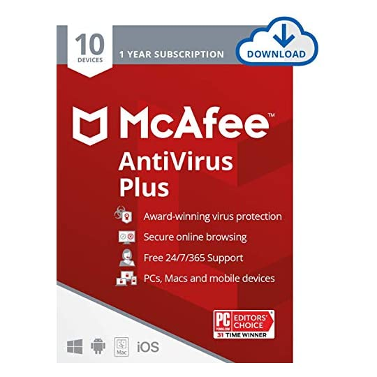 McAfee AntiVirus Protection Plus 2021, 10 Device, Internet Security Software, 1 Year – Download Code