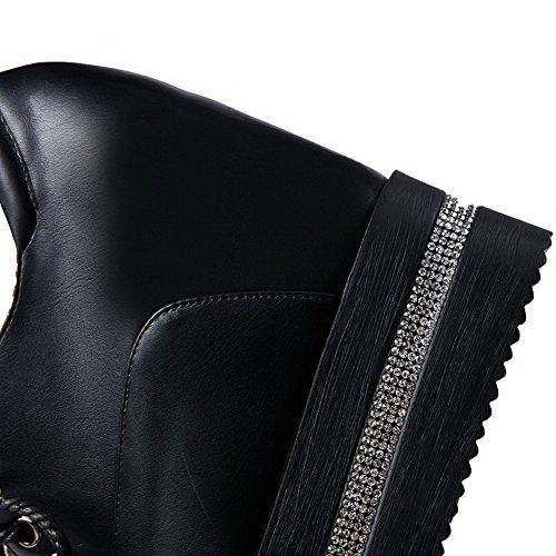 AllhqFashion Mujer Tacón Alto Material Suave Sólido Cordones Puntera Cerrada Puntera Redonda De salón Negro