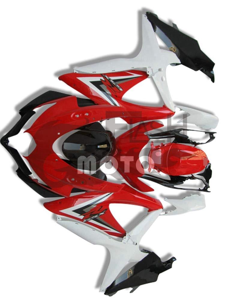 FlashMoto suzuki 鈴木 スズキ GSX-R600 GSX-R750 K8 2008 2009 2010用フェアリング 塗装済 オートバイ用射出成型ABS樹脂ボディワークのフェアリングキットセット (レッド,ホワイト)   B07MN18W1W