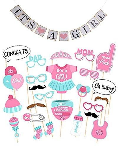 Mask Prop Set (SUPER VALUE SET: Photo Booth Props + It's a Girl Banner 28 PCS It's a Girl Baby Shower Decorations Party Favors Masks Photo Booth Props it's a Girl Sign Banner)