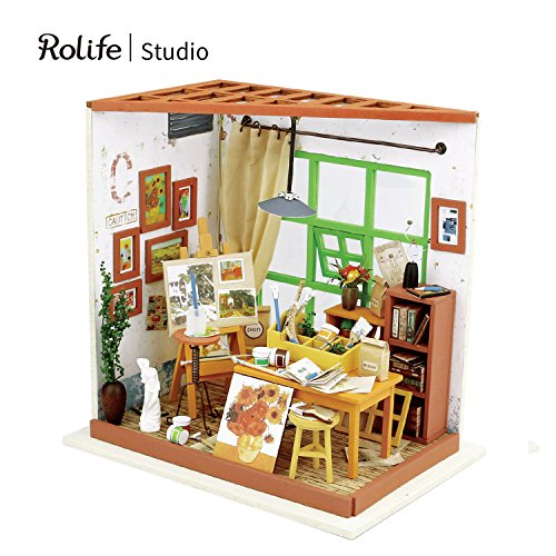 Miniature Art Accessories - Rolife Wooden Dollhouse Miniature Kit with Led Light and Accessories- DIY Mini House Kit Crafts-3d Wooden Model Building Set-Best Birthday for Boys & Girls (03 Studio)
