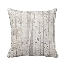JeremyArtStore 18 x 18 Inches Decorative Cotton Linen Square Throw Pillow Case Cushion Cover Birch Trees Design