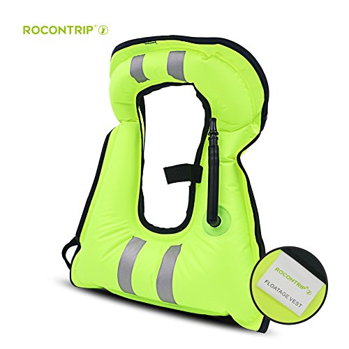 ROCONTRIP Life Jackets, Reflective Inflatable Snorkel Vest High Visibility Portable Tear-Resistant Life Vest with Adjustable Straps for Snorkeling Diving Kayaking Swimming Surfing (Green, Adult)