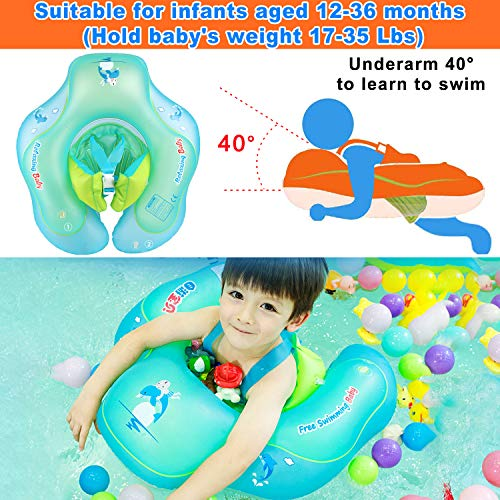 (Baby Swimming Training Float, Inflatable Infant Swim Float Ring with Safety Double Airbags for Learn to Swim U-Shape Swim Vests Bathtub Pools Swim Trainer of 3-36 Months Babies Infant)