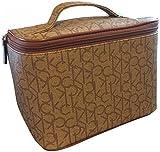 Calvin Klein Logo Monogram Signature Travel Cosmetic Makeup Bag Case Brown