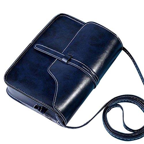 Vintage Crossbody, AgrinTol Vintage Purse Bag Leather Crossbody Shoulder Messenger Bag (Dark Blue)