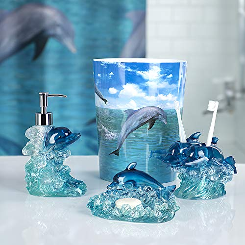 Allure Home Creations Dolphin Jump for Joy 4-Piece Bathroom Accessory Set- 1 Lotion Pump, 1 Toothbrush Holder, 1 Soap Dish and 1 Wastebasket