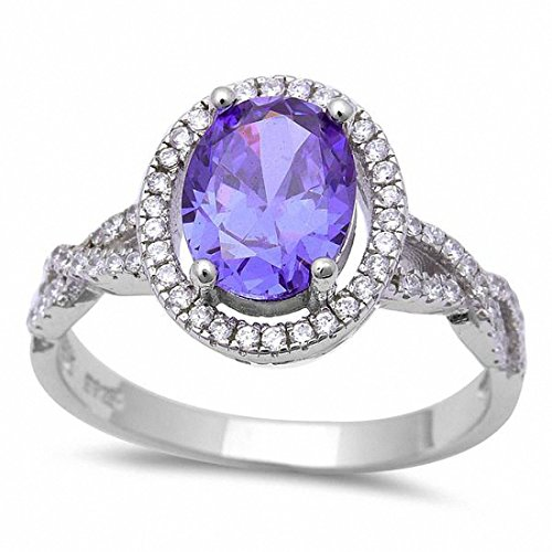 Blue Apple Co. Halo Oval Infinity Shank Engagement Ring Simulated Round Amethyst 925 Sterling SilverSize-9 ()