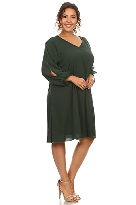 Split Sleeve Shift Dress (Plus) (1X, Hunter Green) at Amazon Womens Clothing store: