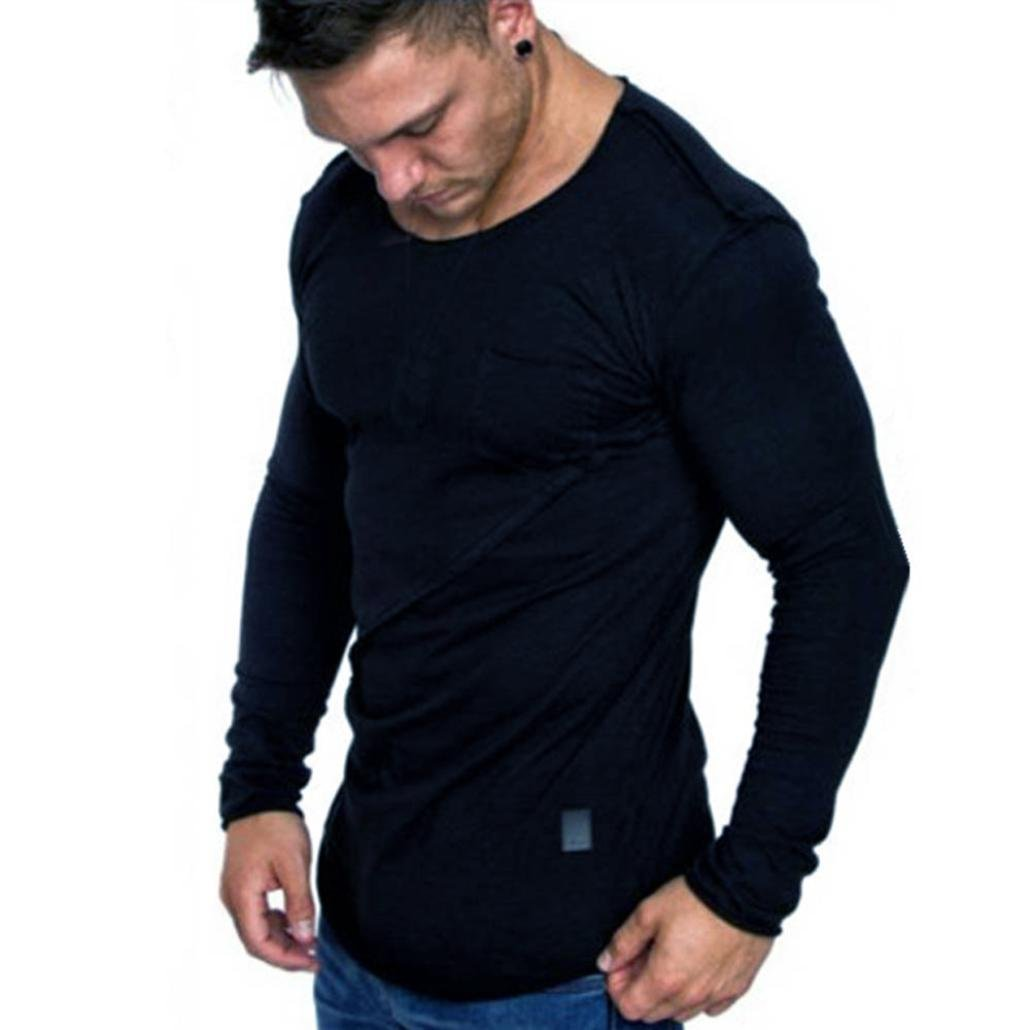 vermers Clearance Men Long Sleeve T Shirts - Casual Beefy Muscle Button Basic Solid Blouse Tee Shirt Tops(2XL, Navy)