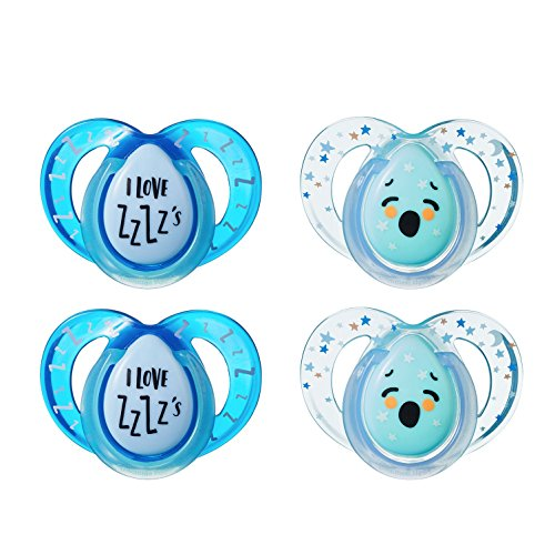 - Tommee Tippee Closer to Nature Night Time Orthodontic Infant Soother Pacifier, 6-18 Months - Blue, Boy, 4 Pack