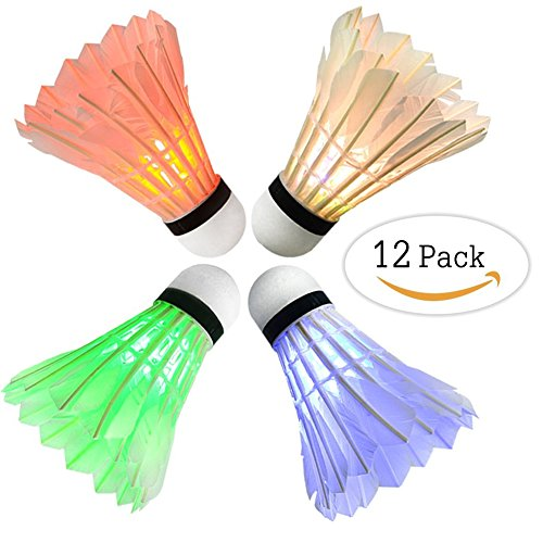 Arespark LED Badminton Shuttlecock, Dark Night Colorful LED Goose Feather Glow Birdies Lighting, Light Up Shuttle-Cocks Badminton Balls for Outdoor & Indoor Sports Activities, Pack of 4/8 / 12/16