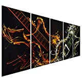 Pure Art Abstract Guitar Heat - Large Music Metal Wall Art Decor - Set of 5 Panels Sculpture for Kitchen or Living Room - 64'' x 24''