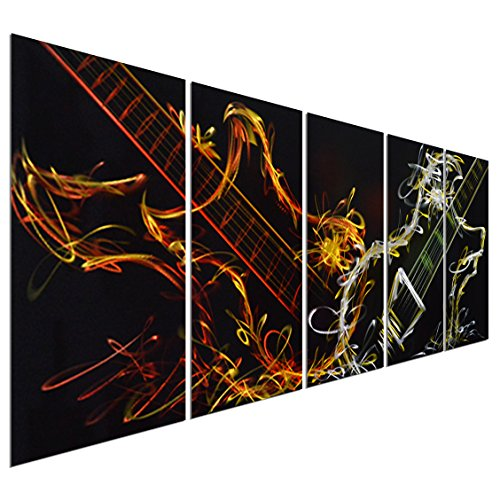 Pure Art Abstract Guitar Heat - Large Music Metal Wall Art Decor - Set of 5 Panels Sculpture for Kitchen or Living Room - 64