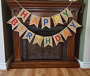 Rustic HAPPY BIRTHDAY Burlap Pennant Banner by Bungalow Ikkis Ideas & Accents