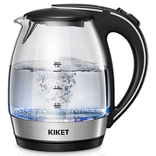 Electric Kettle (BPA free), 1.8L Glass Tea Kettle, Cordless Hot Water Boiler with LED Indicator, Auto Shut-off and Boil Dry Protection, 2 Years Quality Assurance, KiKet