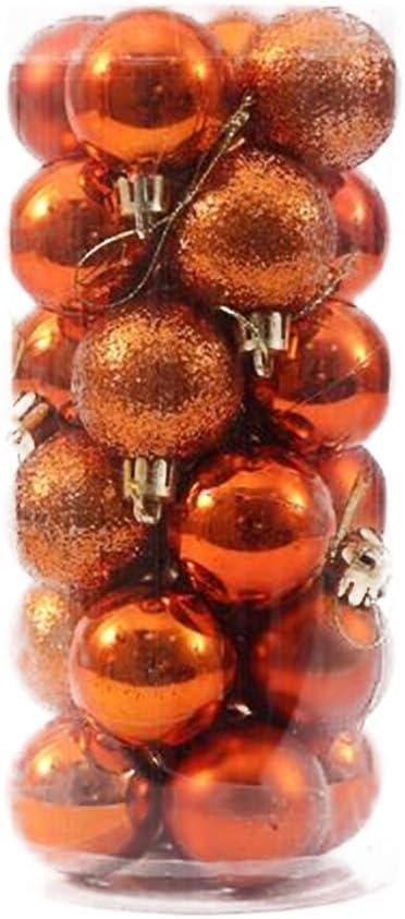 JingYuan Christams Hanging Ornamenst infrangibile Albero di Natale Palle 4 Centimetri di Sfera di plastica per la Decorazione Domestica Arancione 24X