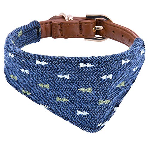 StrawberryEC Puppy Collars for Small Dogs Adjustable Puppy Id Buckle Collar Leather. Cute Plaid Bandana Dog Collar (Bandana-Navy-Note)