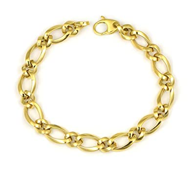 38d2b0574c1e Pulsera semimaciza oro amarillo de 18 kilates formada por eslabones de dos  tamaños diferentes