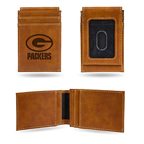 Rico Industries NFL Green Bay Packers Laser Engraved Front Pocket Wallet, Brown