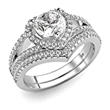 Sz 10 Sterling Silver 925 Cubic Zirconia CZ Heart Engagement Wedding Band Ring 2Pc Set