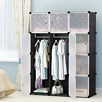 Portable Clothes Closet Wardrobe by KOUSI-Freestanding Storage Organizer with doors  large space and sturdy construction. Black-12 cube
