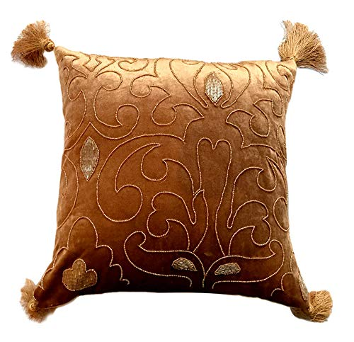 The HomeCentric Funda de Almohada Decorativa Oro Damasco ...