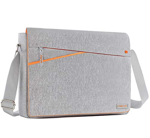 (MOSISO Laptop Shoulder Bag Compatible 15-15.6 Inch 2018/2017/2016 New MacBook Pro, 14 Inch ThinkPad Tablet, Messenger Carrying Handbag Briefcase Sleeve Case Cover with Two Side Pockets, Gray and Orang)