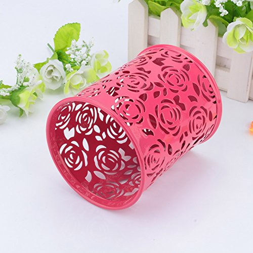 Hollow Rose Flower Pattern Cylinder Pen Pencil Holder