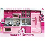 """Deluxe Modern Kitchen 32 Full Deluxe Kit Battery Operated Toy Doll Kitchen Playset w/ Lights, Sounds, Perfect for Use with 11-12"""" Tall Dolls"""