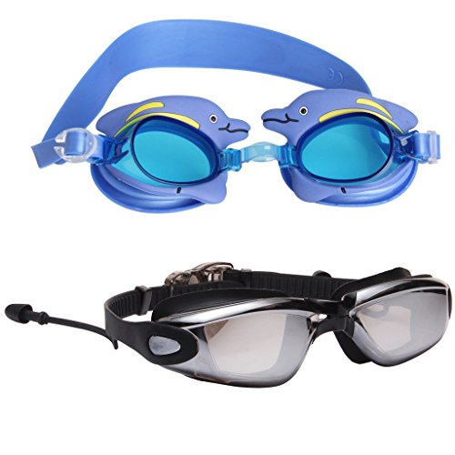 LIANSAN Adult Kids Swimming Glasses Set Safety Anti-fog Waterproof Myopia Swim Goggles AF6615-5700 - Sunglasses Review Smith