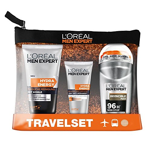 L'Oréal Men Expert Reiseset Energy Box - Pflegeset inkl. Reinigungsgel, Feuchtigkeitscreme, Deo Roll-On + Kulturbeutel, 1 Set