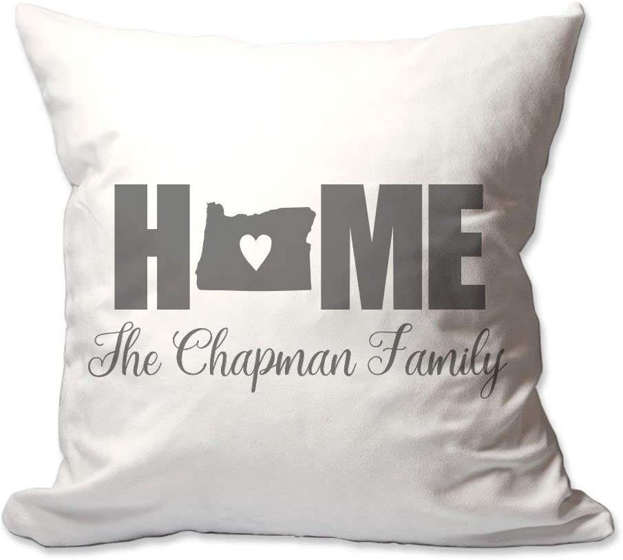 Pattern Pop Personalized Oregon Home with Heart Throw Pillow Cover - 17 X 17 Throw Pillow Cover (NO Insert) - Complete Decorative Throw Pillow Cover