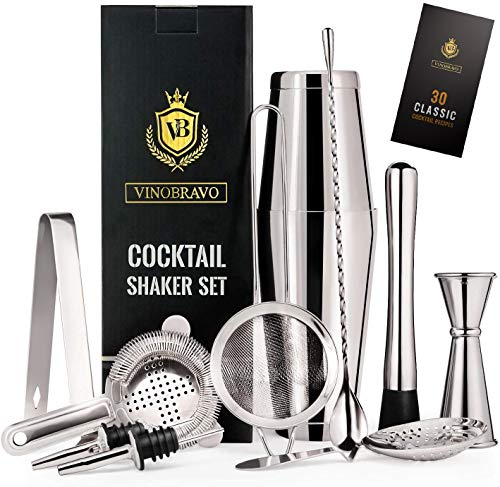 12-Piece Bartender Kit Boston Cocktail Shaker Bar Set by VinoBravo : 2 Weighted Shaker Tins, Strainer Set, Double Jigger, Bar Spoon, Ice Muddler & Tong, 2 Liquor Pourers & Recipe Guide (Silver)