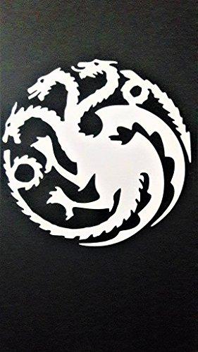 Chase Grace Studio Game Of Thrones Inspired House Of Targaryen Dragons Vinyl Decal Sticker|WHITE|Cars Trucks SUV Laptops Boats Kayak Wall Art|5