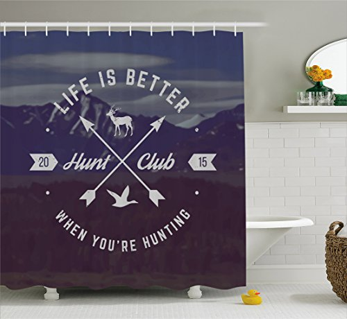 Ambesonne Hunting Decor Shower Curtain, Grunge Hunt Club Emblem with Arrows Motivating Quote Mountains Backdrop, Fabric Bathroom Decor Set with Hooks, 70 inches, Brown Blue White