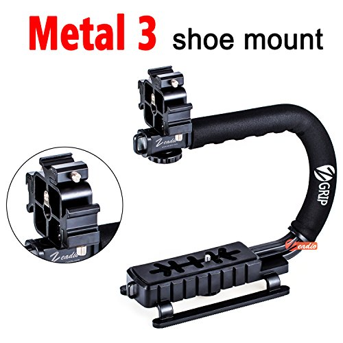Zeadio Video Action Stabilizing Handle Grip Handheld Stabilizer with Metal Triple Shoe Mount for Canon Nikon Sony Panasonic Pentax Olympus DSLR Camera Camcorder by Zeadio