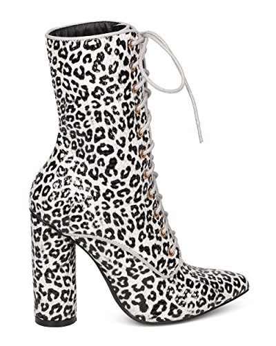 CAPE ROBBIN Women Satin Lace Up Chunky Heel Boot - Dressy, Party, Girls Night - Pointy Toe Boot - GF85 by Leopard