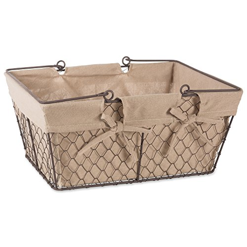Home Traditions Vintage Metal Chicken Wire Storage Basket with Handles and Removable Fabric Liner, Natural
