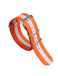 20mm Orange/White Colorful Breathable Women's One-piece NATO style Nylon Watch Bands Straps