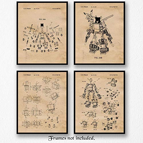 Original Lego Transformers Patent Art Poster Prints, Set of 4 (8x10) Unframed Photos, Great Wall Art Decor Gifts Under 20 for Home, Office, Man Cave, Student, Teacher, Kids Toy Puzzles & Movies Fan