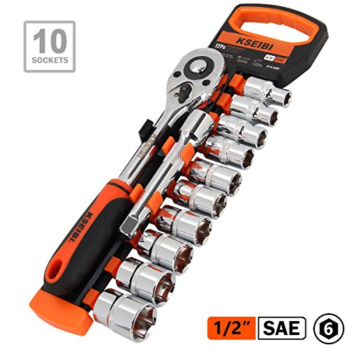 KSEIBI 101806 12-Piece 6 Point 1/2-Inch Drive 10 Standard Socket 3/8-15/16, Ratchet Handle and 5 Inch Extension Bar W Organized Storage Rack Sockets Set for Car and Auto Repair (SAE-1/2 Inch) by KSEIBI