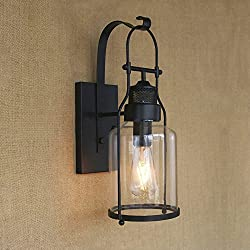 Ruanpu Industrial Glass Rustic Antique Loft Style Metal Lantern Wall Sconce in Black Finish Edison Style