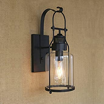 Ruanpu Industrial Glass Rustic Antique Loft Style Metal Lantern Wall Sconce  In Black Finish Edison Style     Amazon.com