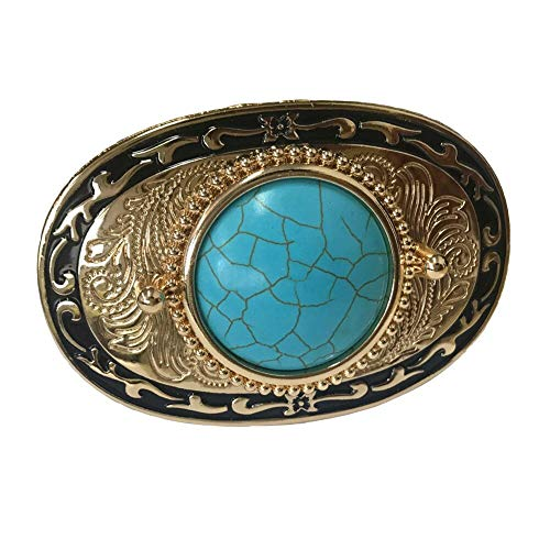 Western Cowboy Cowgirl Turquoise Belt Buckle For Men Women Oval Rose Gold Plated