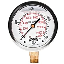 """Winters PFQ Series Stainless Steel 304 Dual Scale Liquid Filled Pressure Gauge with Brass Internals, 0-2000 psi/kpa,2-1/2"""" Dial Display, +/-1.5% Accuracy, 1/4"""" NPT Bottom Mount"""